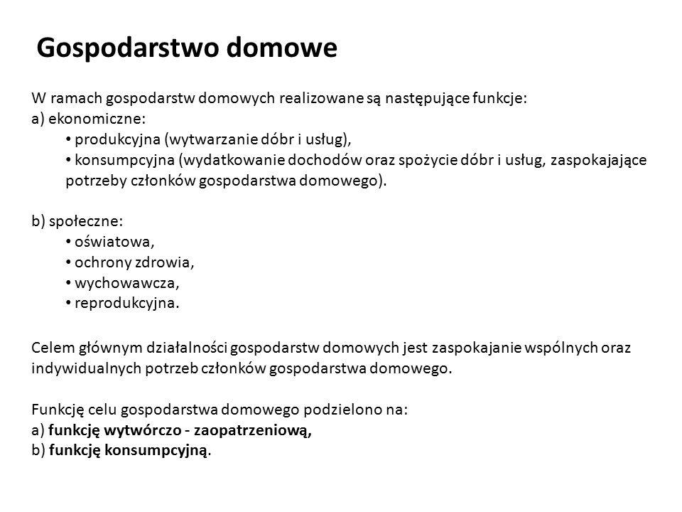 Gospodarstwo domowe W ramach gospodarstw domowych realizowane są następujące funkcje: a) ekonomiczne: