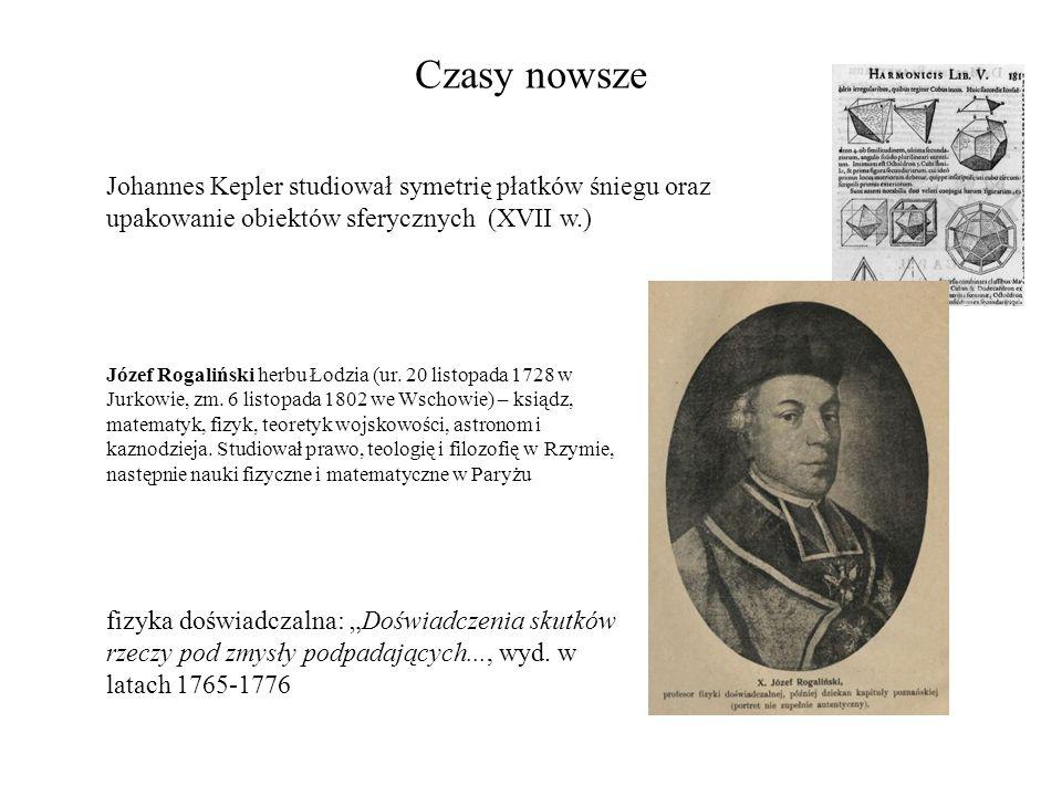 Czasy nowsze Johannes Kepler studiował symetrię płatków śniegu oraz