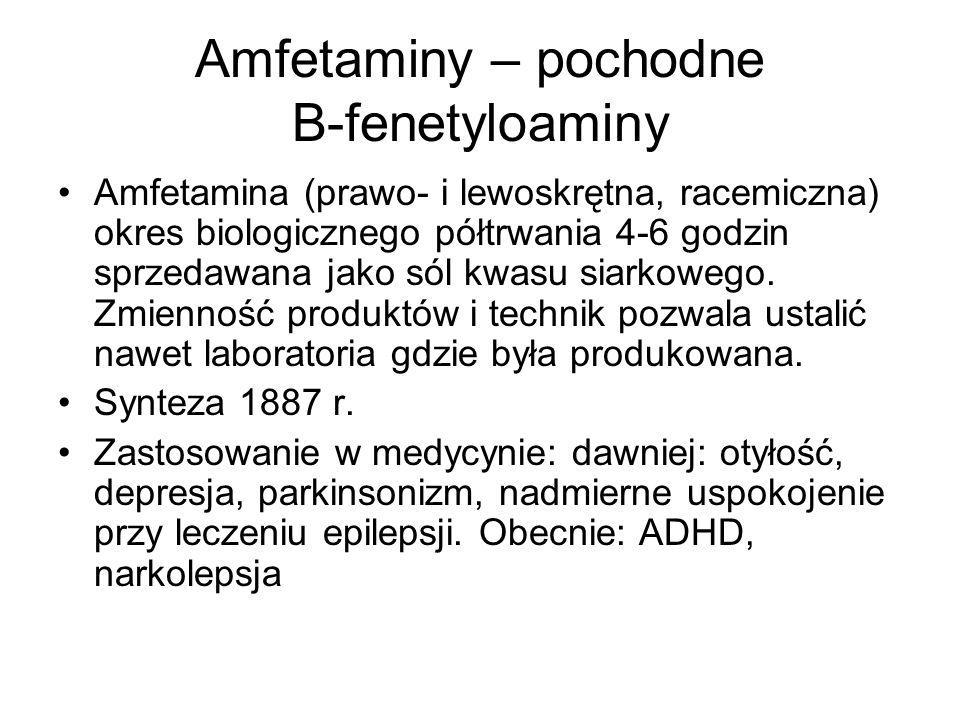 Amfetaminy – pochodne B-fenetyloaminy