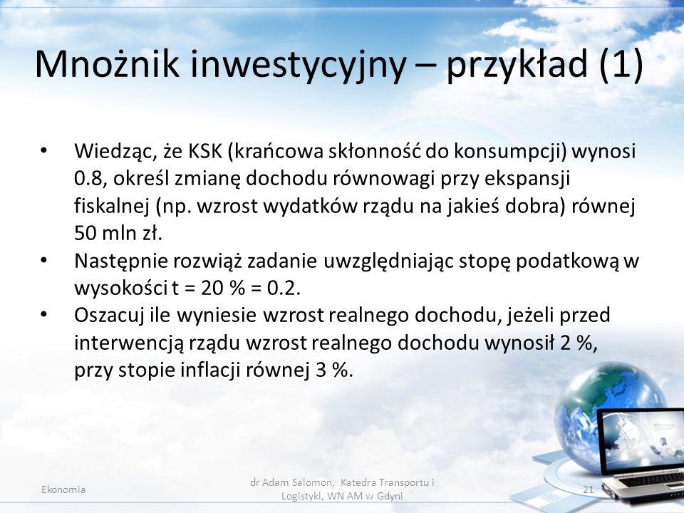 Mnożnik inwestycyjny – przykład (1)
