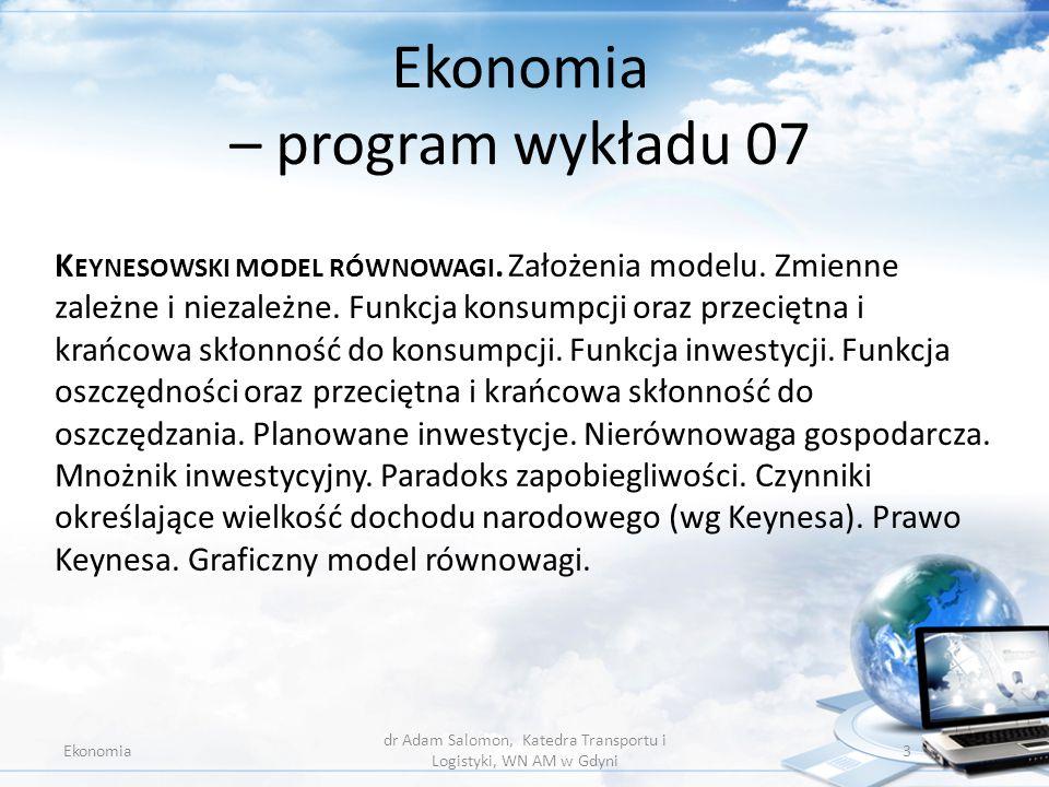 Ekonomia – program wykładu 07