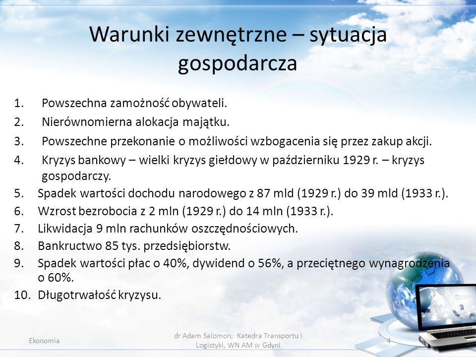 Warunki zewnętrzne – sytuacja gospodarcza