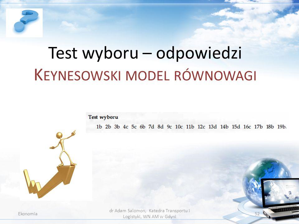 Test wyboru – odpowiedzi Keynesowski model równowagi