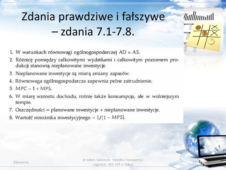 Zdania prawdziwe i fałszywe – zdania 7.1-7.8.