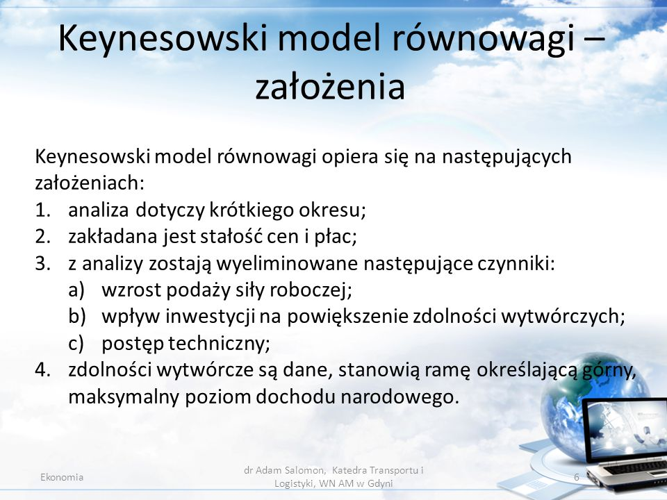 Keynesowski model równowagi – założenia