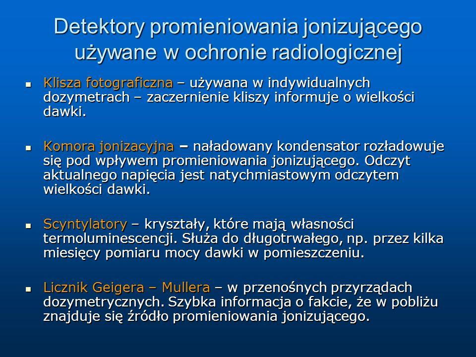 Detektory promieniowania jonizującego używane w ochronie radiologicznej