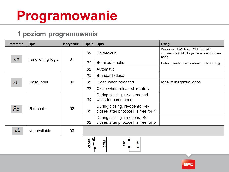 Programowanie 1 poziom programowania Functioning logic 01 00