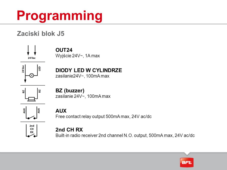Programming Zaciski blok J5 OUT24 DIODY LED W CYLINDRZE BZ (buzzer)