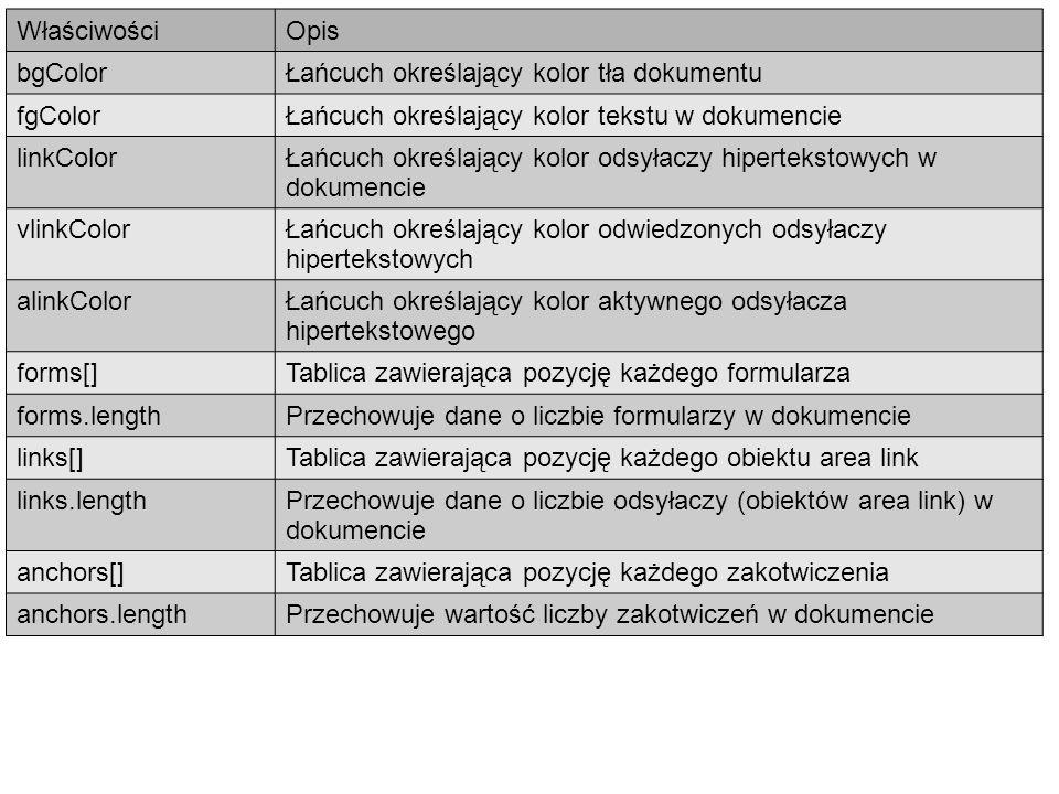 Właściwości Opis. bgColor. Łańcuch określający kolor tła dokumentu. fgColor. Łańcuch określający kolor tekstu w dokumencie.
