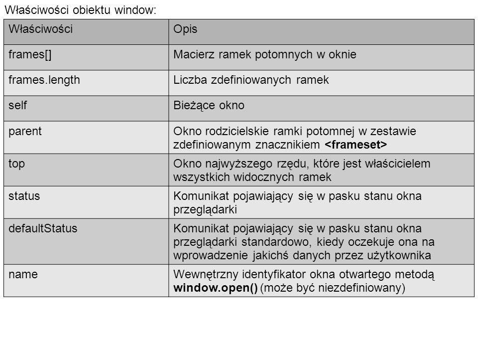 Właściwości obiektu window: