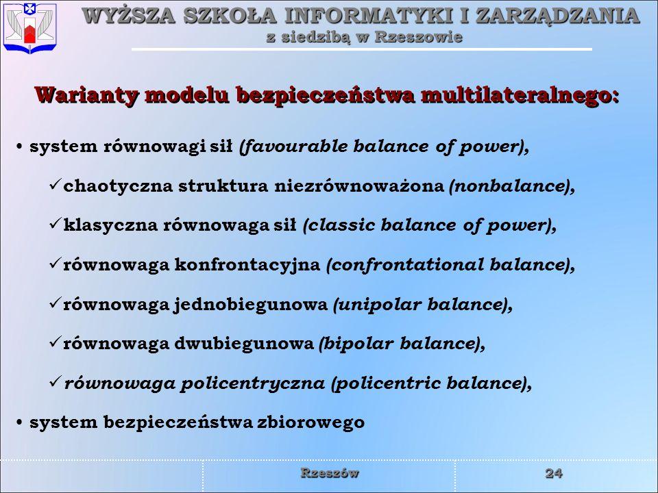 Warianty modelu bezpieczeństwa multilateralnego: