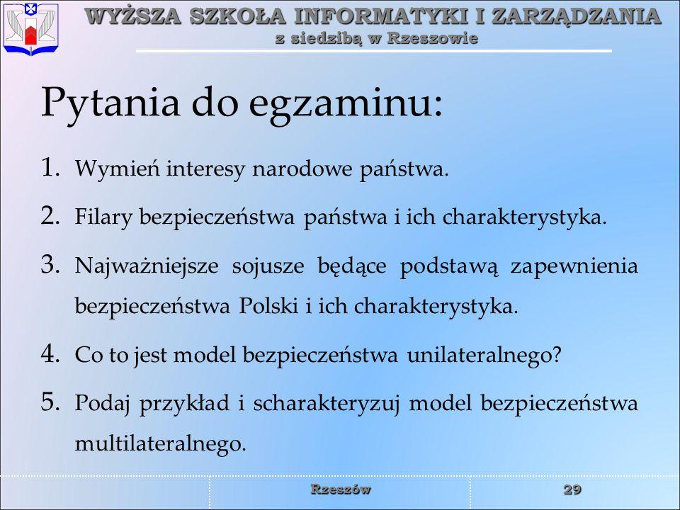 Pytania do egzaminu: Wymień interesy narodowe państwa.