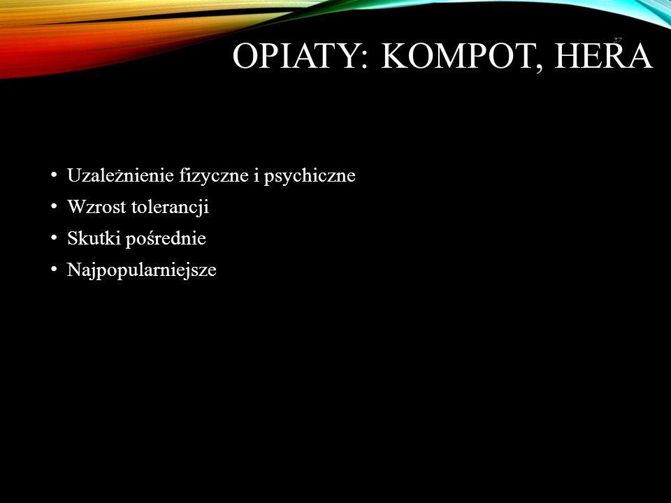 Opiaty: kompot, hera Uzależnienie fizyczne i psychiczne