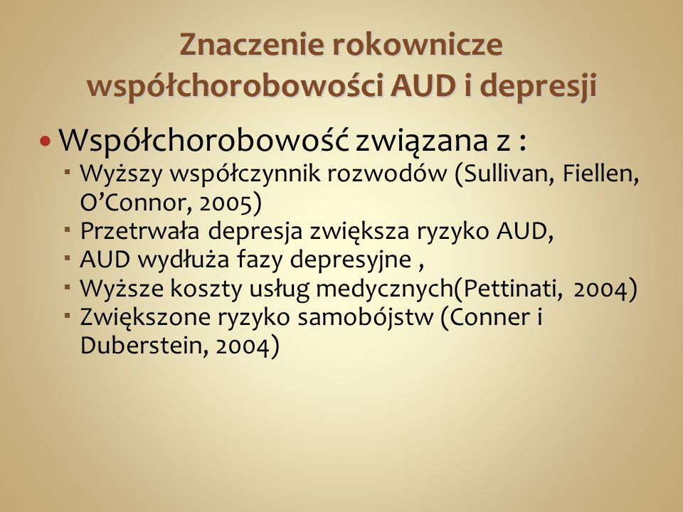 Znaczenie rokownicze współchorobowości AUD i depresji