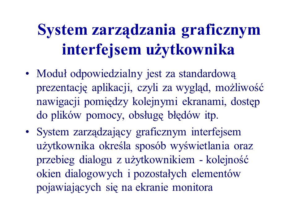 System zarządzania graficznym interfejsem użytkownika