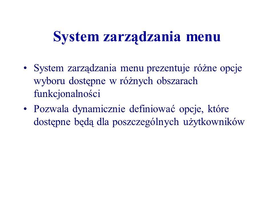 System zarządzania menu