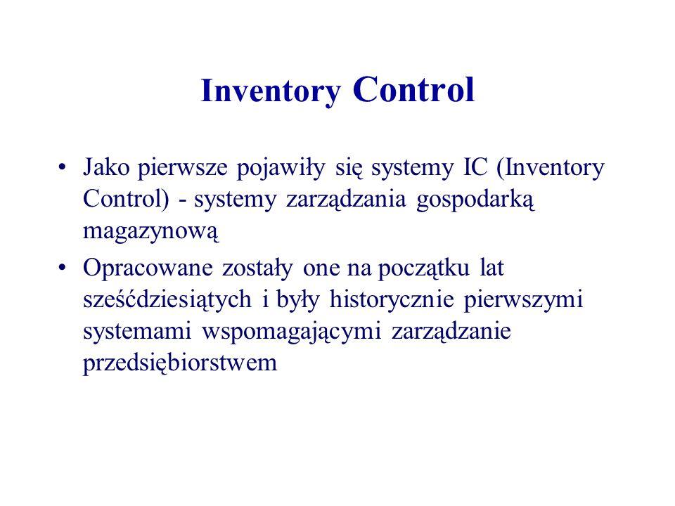 Inventory Control Jako pierwsze pojawiły się systemy IC (Inventory Control) - systemy zarządzania gospodarką magazynową.