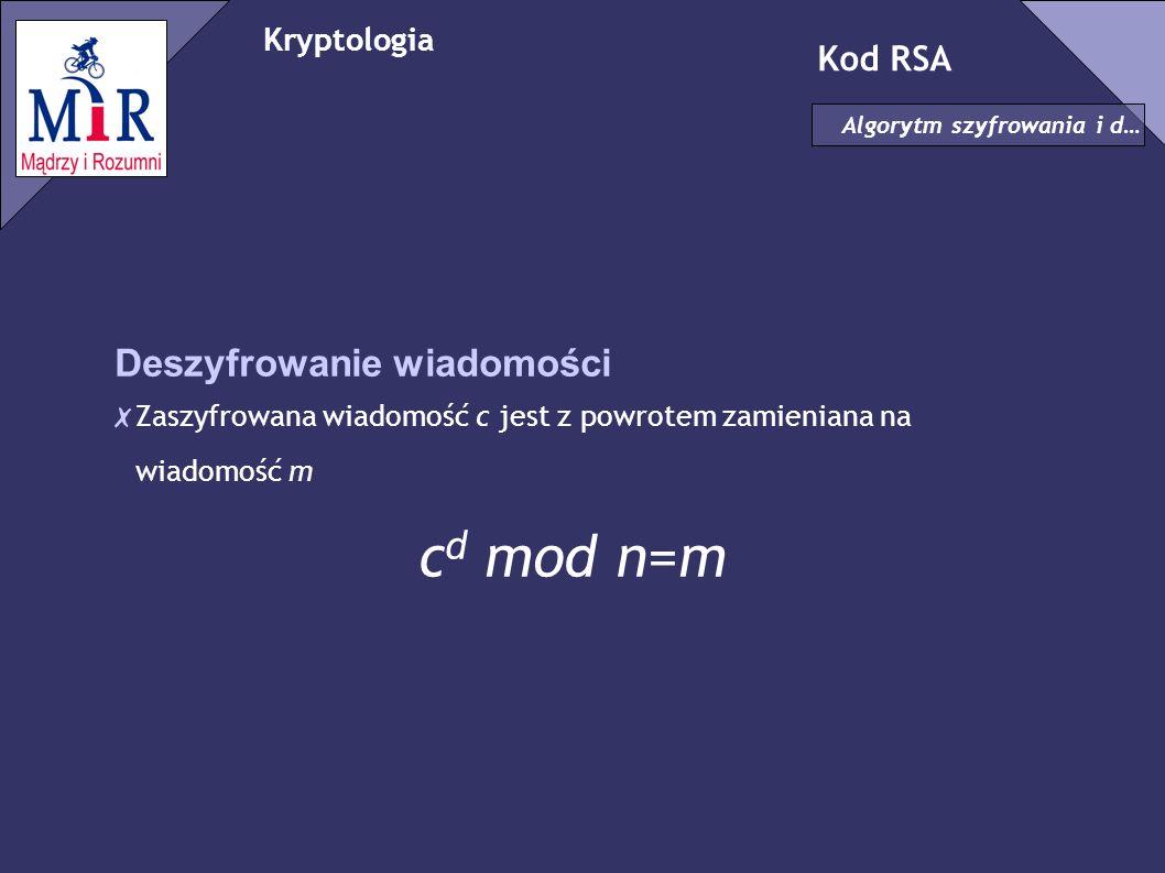 cd mod n=m Deszyfrowanie wiadomości Kod RSA Kryptologia