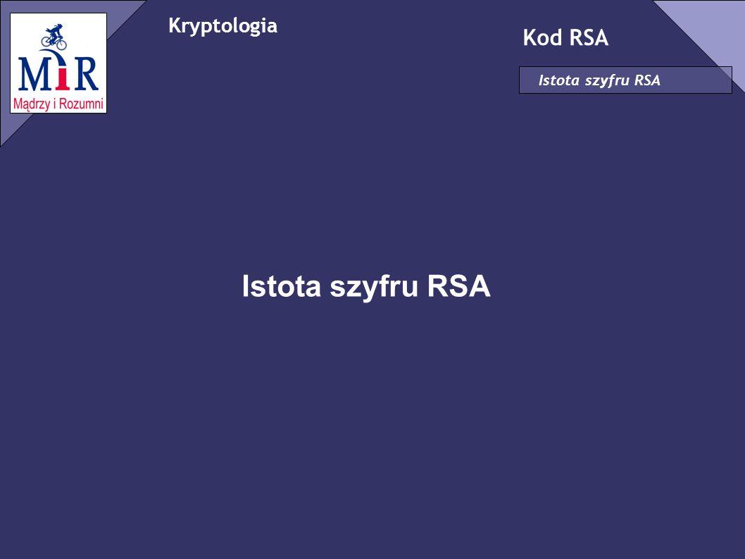 Kryptologia Kod RSA Istota szyfru RSA Istota szyfru RSA