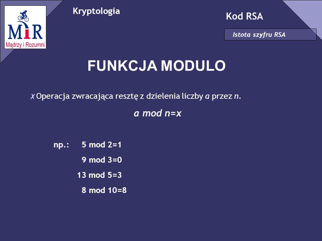 FUNKCJA MODULO Kod RSA a mod n=x Kryptologia