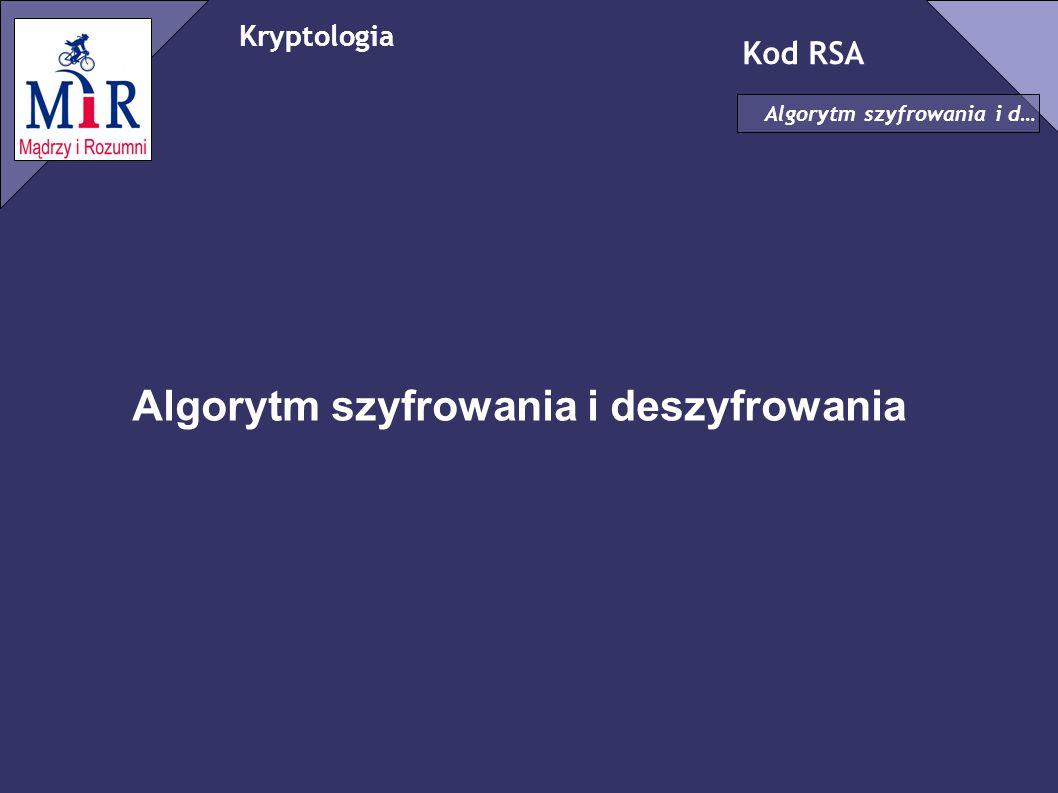 Algorytm szyfrowania i deszyfrowania