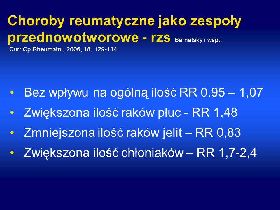 Choroby reumatyczne jako zespoły przednowotworowe - rzs Bernatsky i wsp.: .Curr.Op.Rheumatol, 2006, 18, 129-134