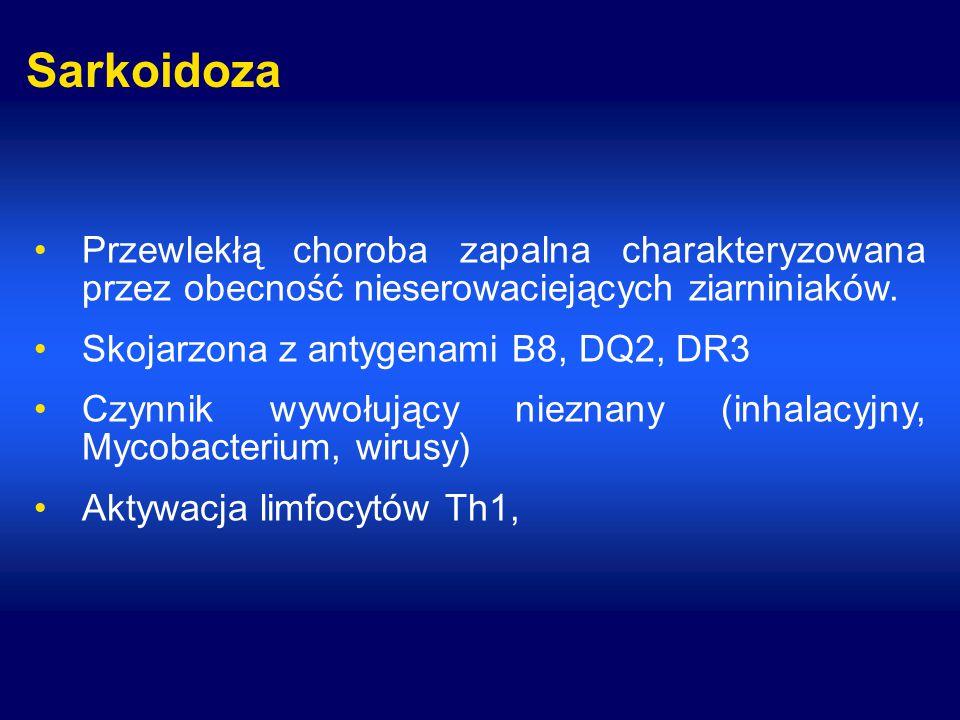 Sarkoidoza Przewlekłą choroba zapalna charakteryzowana przez obecność nieserowaciejących ziarniniaków.
