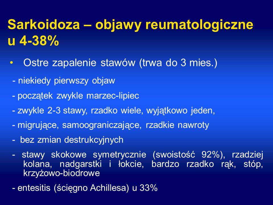 Sarkoidoza – objawy reumatologiczne u 4-38%