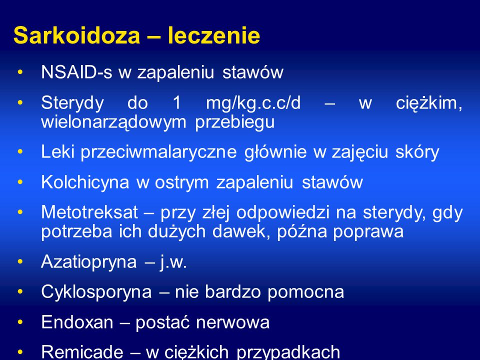 Sarkoidoza – leczenie NSAID-s w zapaleniu stawów