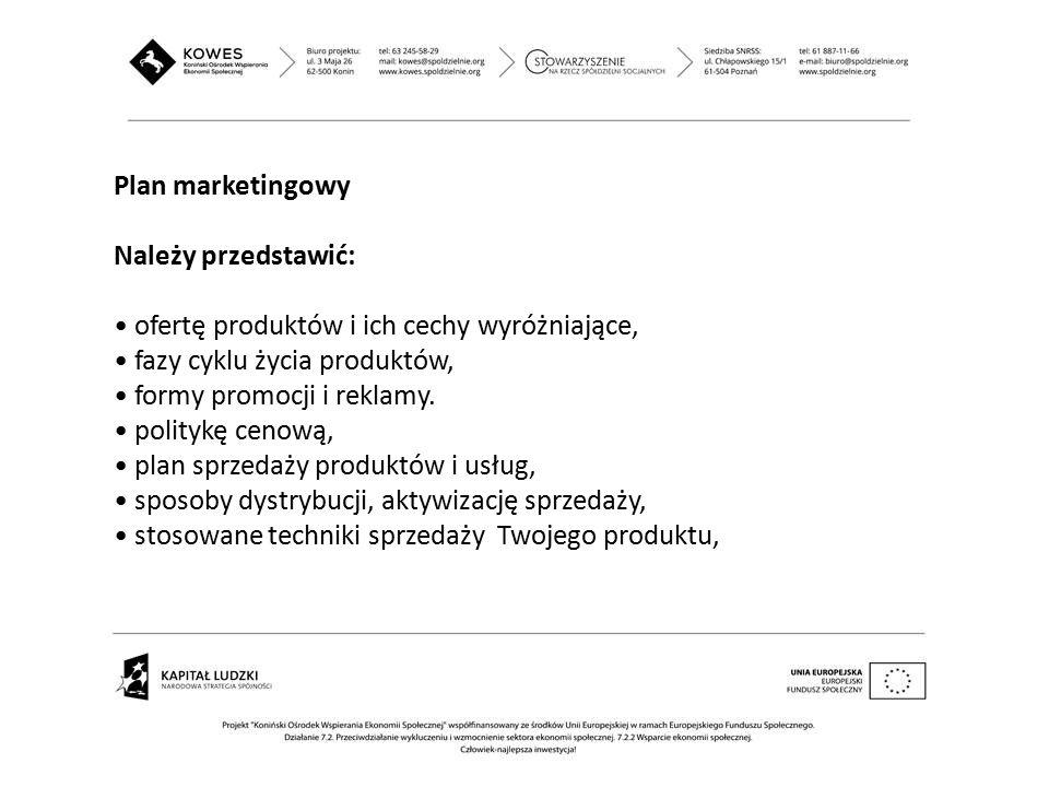 Plan marketingowy Należy przedstawić: ofertę produktów i ich cechy wyróżniające, fazy cyklu życia produktów,