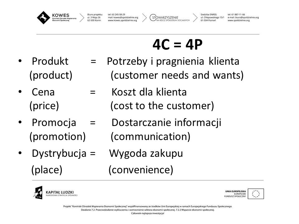 4C = 4P Produkt = Potrzeby i pragnienia klienta (product) (customer needs and wants)