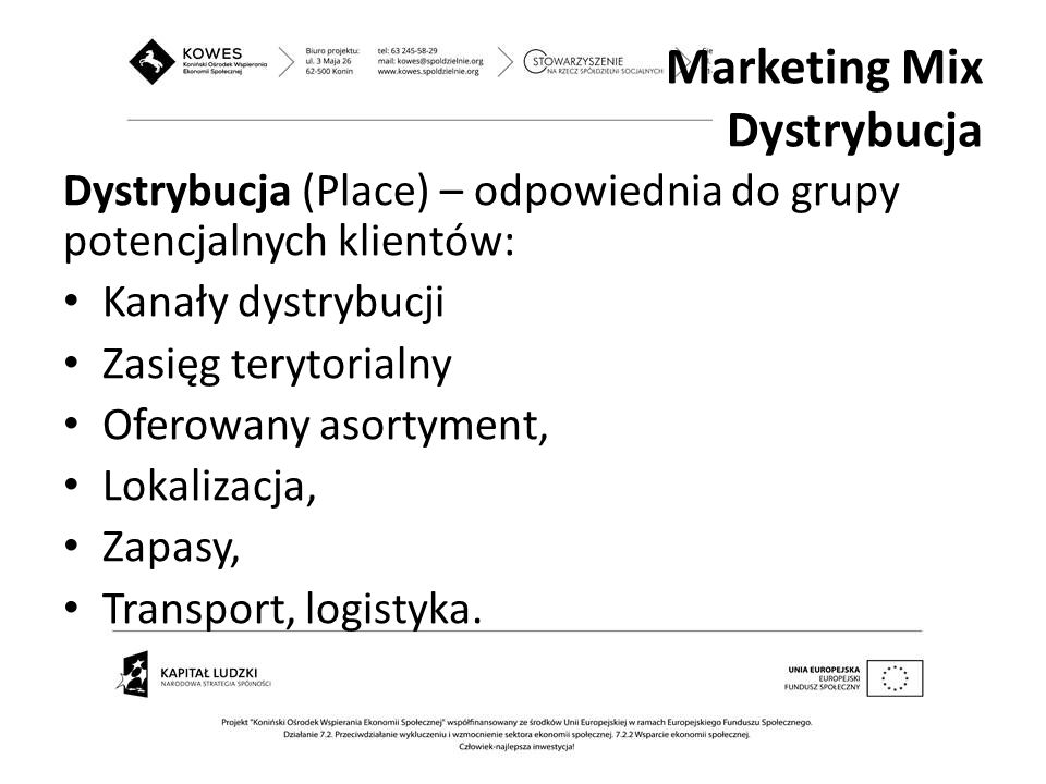 Marketing Mix Dystrybucja