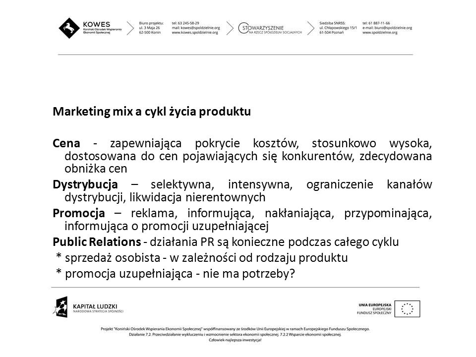 Marketing mix a cykl życia produktu