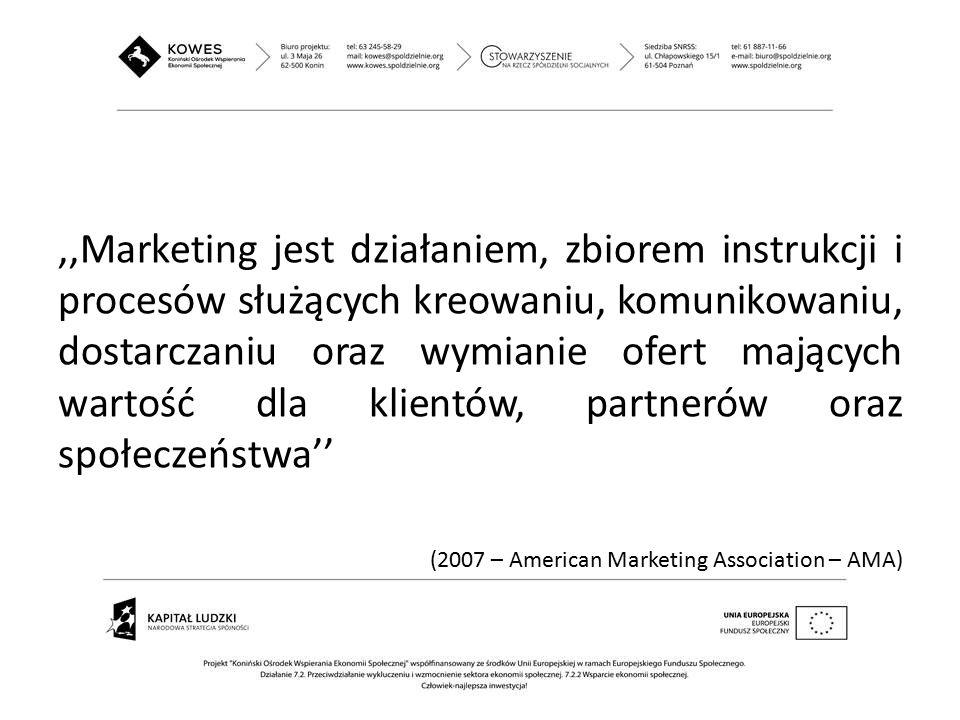,,Marketing jest działaniem, zbiorem instrukcji i procesów służących kreowaniu, komunikowaniu, dostarczaniu oraz wymianie ofert mających wartość dla klientów, partnerów oraz społeczeństwa''
