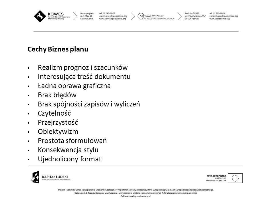 Cechy Biznes planu Realizm prognoz i szacunków. Interesująca treść dokumentu. Ładna oprawa graficzna.