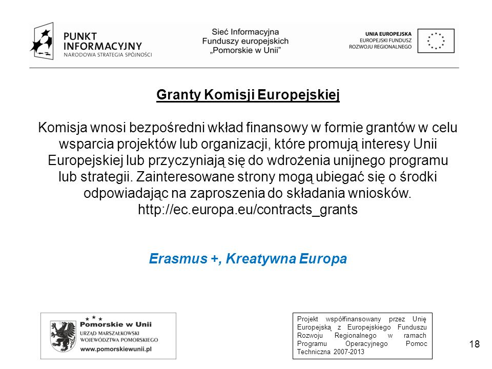 Granty Komisji Europejskiej Erasmus +, Kreatywna Europa