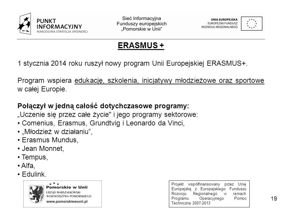 ERASMUS + 1 stycznia 2014 roku ruszył nowy program Unii Europejskiej ERASMUS+.