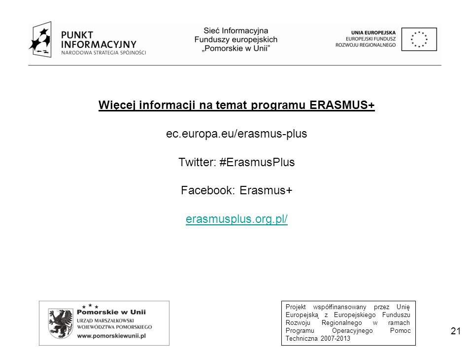 Więcej informacji na temat programu ERASMUS+