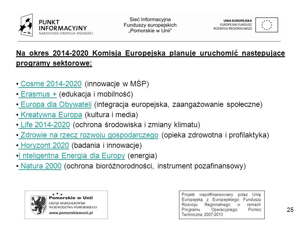 Cosme 2014-2020 (innowacje w MŚP) Erasmus + (edukacja i mobilność)