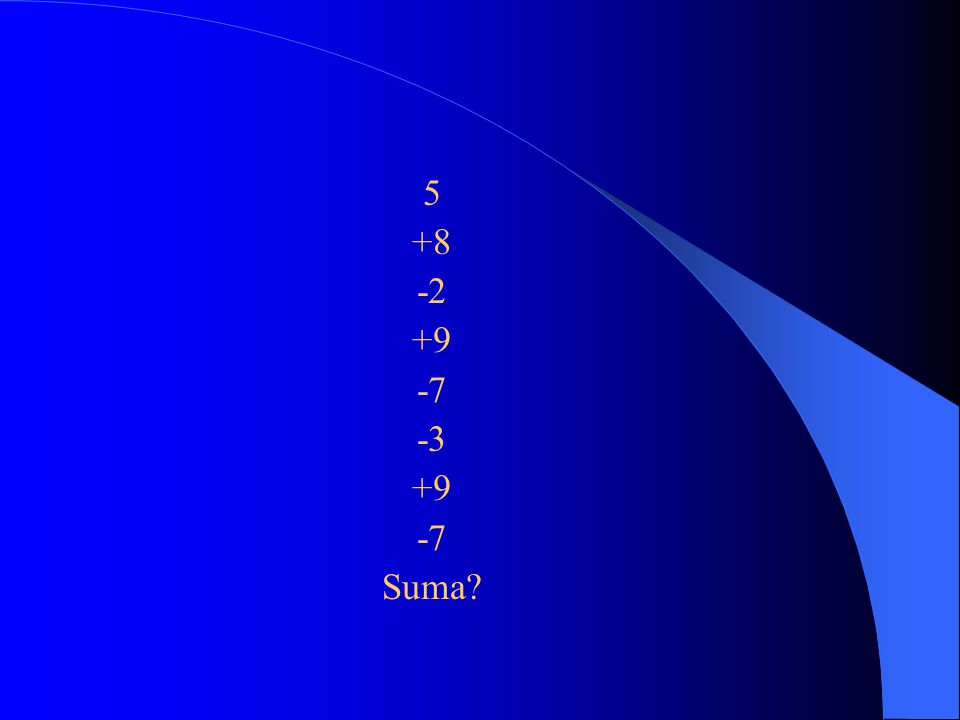 5 +8 -2 +9 -7 -3 Suma