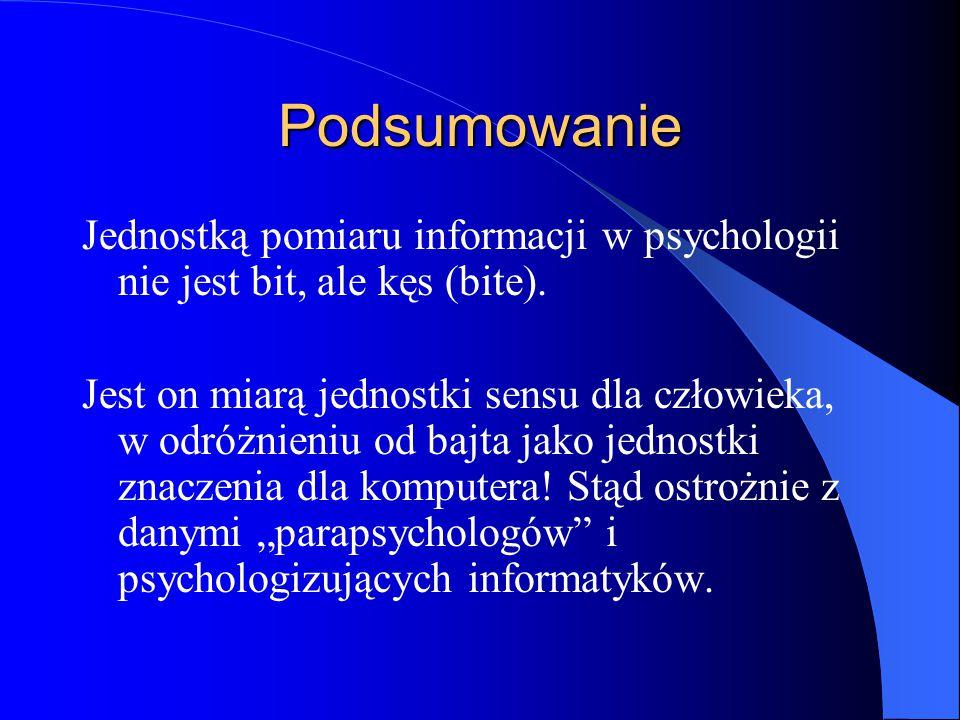 Podsumowanie Jednostką pomiaru informacji w psychologii nie jest bit, ale kęs (bite).