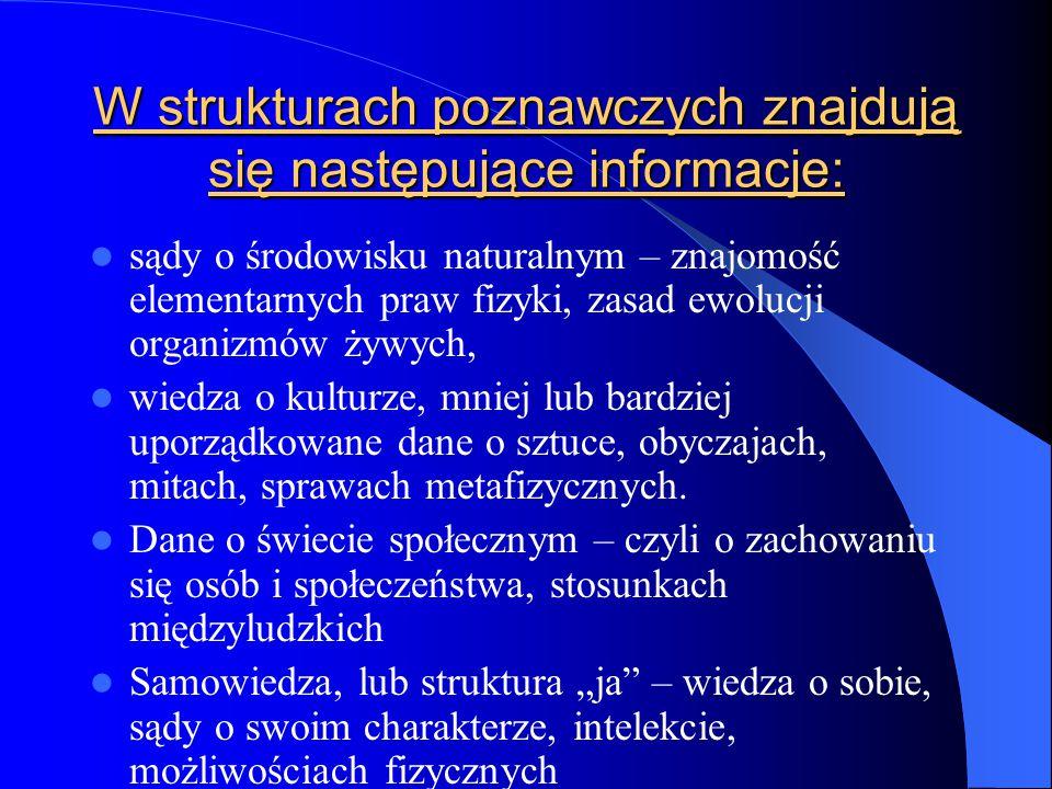 W strukturach poznawczych znajdują się następujące informacje: