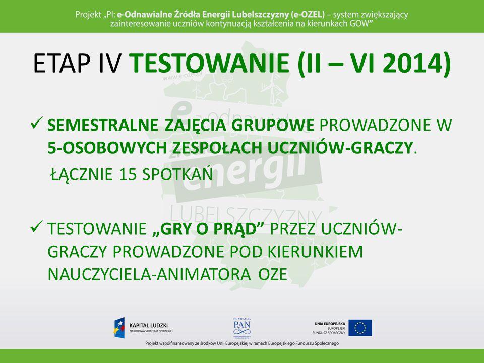 ETAP IV TESTOWANIE (II – VI 2014)