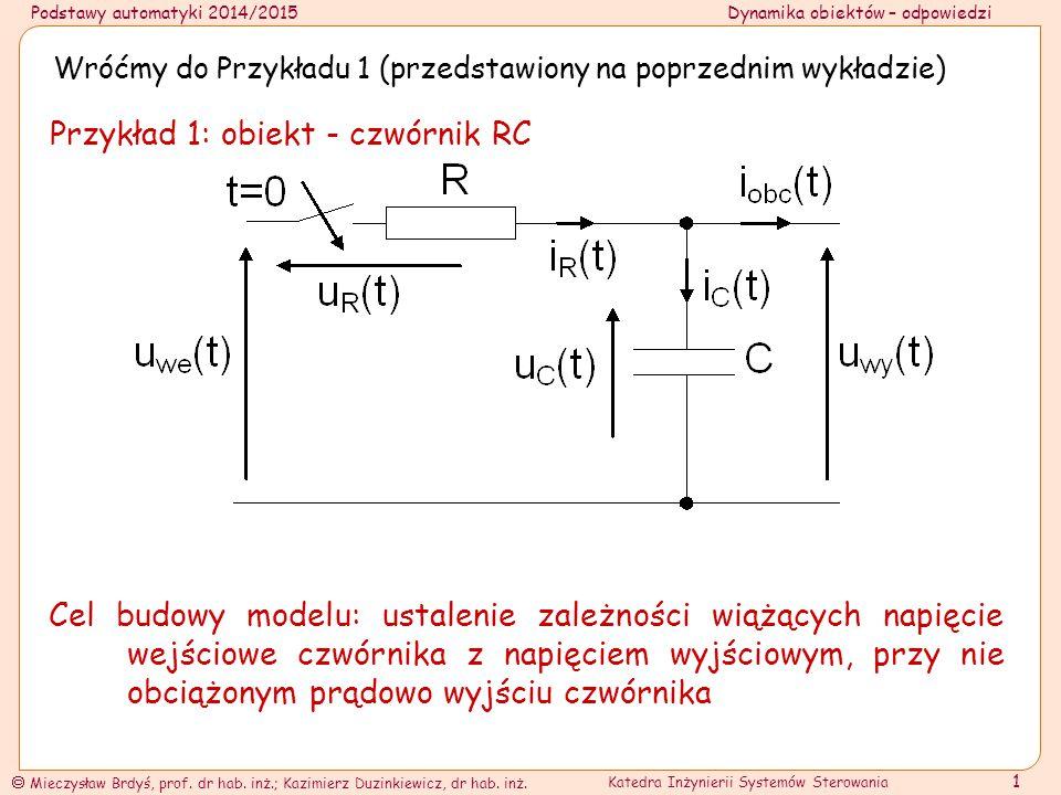 Przykład 1: obiekt - czwórnik RC