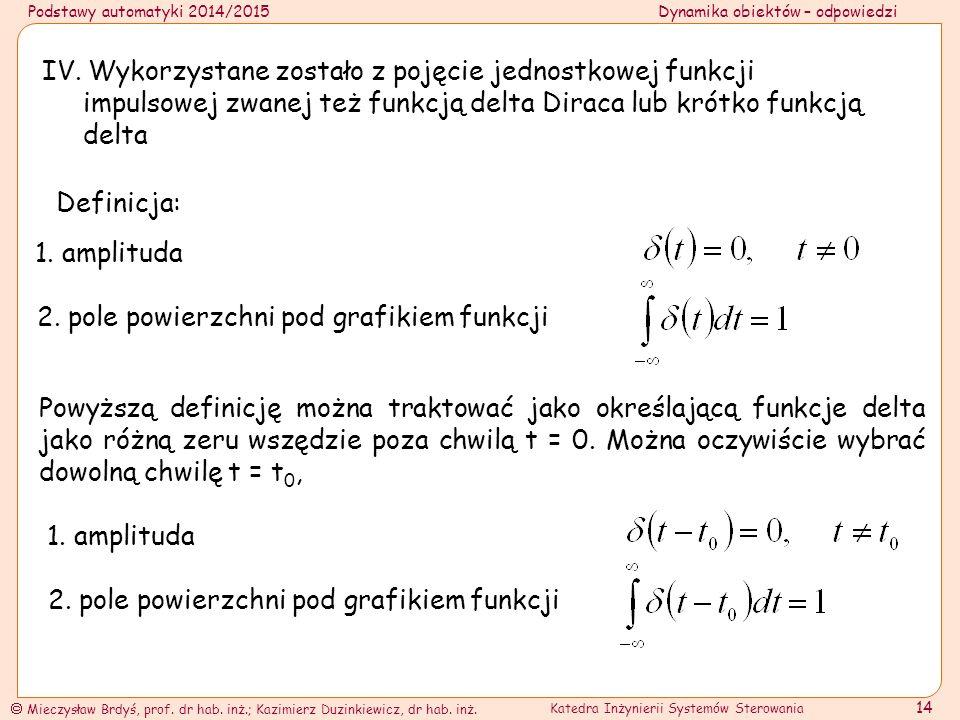 IV. Wykorzystane zostało z pojęcie jednostkowej funkcji impulsowej zwanej też funkcją delta Diraca lub krótko funkcją delta