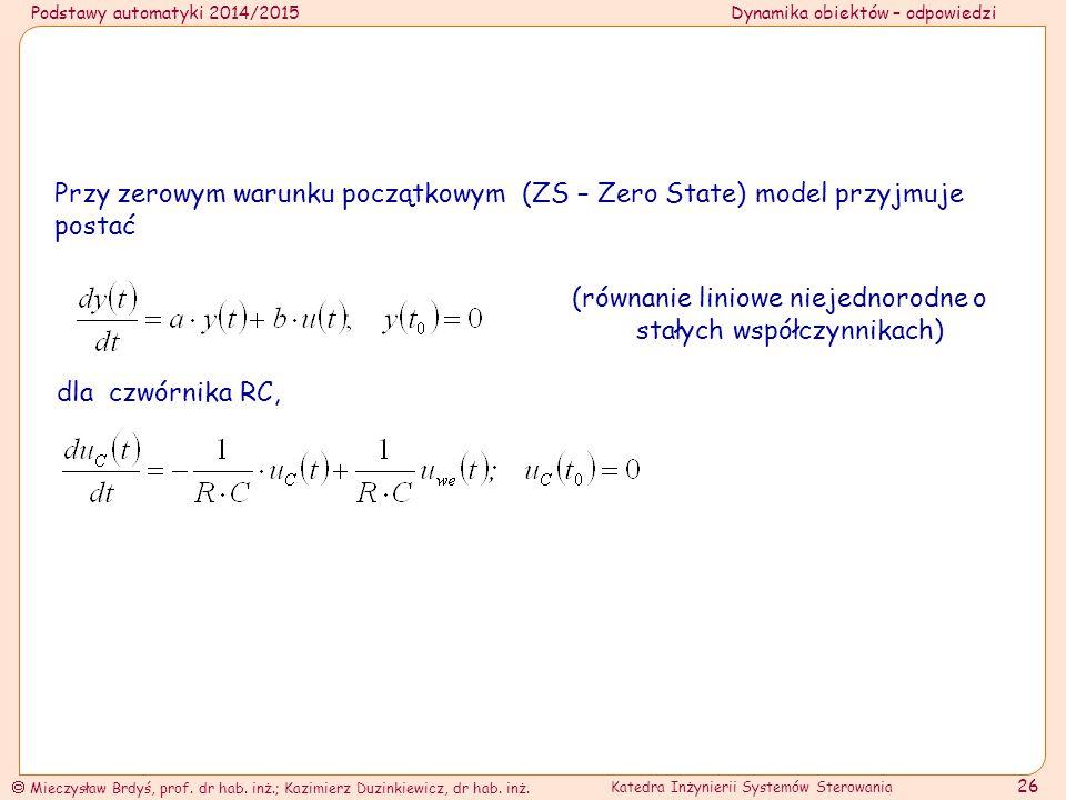 (równanie liniowe niejednorodne o stałych współczynnikach)