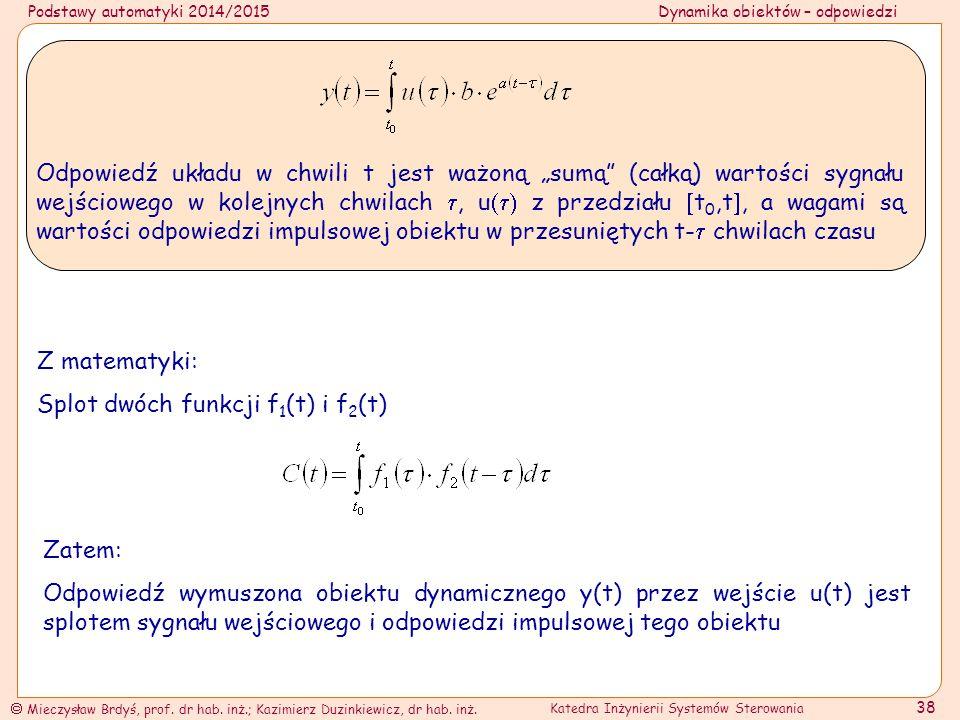 """Odpowiedź układu w chwili t jest ważoną """"sumą (całką) wartości sygnału wejściowego w kolejnych chwilach , u z przedziału t0,t, a wagami są wartości odpowiedzi impulsowej obiektu w przesuniętych t- chwilach czasu"""