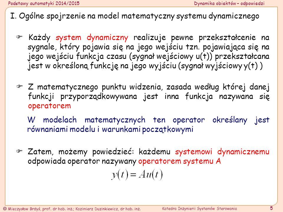 I. Ogólne spojrzenie na model matematyczny systemu dynamicznego