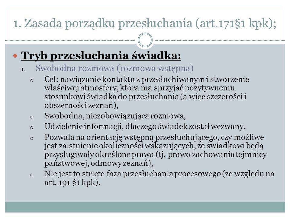 1. Zasada porządku przesłuchania (art.171§1 kpk);