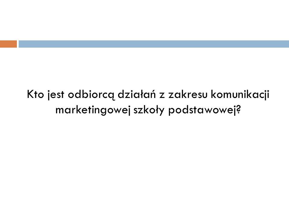 Kto jest odbiorcą działań z zakresu komunikacji marketingowej szkoły podstawowej